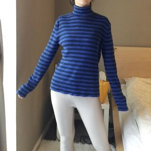 Ralph Lauren Turtleneck Striped Knit Top.-C1.
